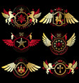 vintage decorative heraldic emblems composed vector image vector image