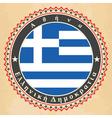 vintage label cards greece flag vector image vector image