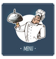 waiter serving a dish with lid to customer vector image