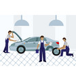 workers in car service tire service and car repair vector image