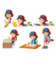 a set of girl and activity vector image