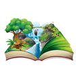 A storybook with an image of the gift of nature vector image vector image