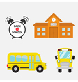 Back to school Yellow bus set Transportation Alarm vector image vector image