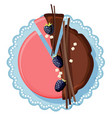 birthday cake with chocolate and strawberry cream vector image vector image
