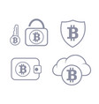 bitcoin wallet in the cloud protection set icon vector image vector image