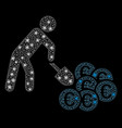 bright mesh 2d person mining euro with flash spots vector image vector image