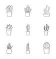 cacti icon set outline style vector image vector image