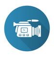 camera blue flat design long shadow glyph icon vector image vector image