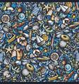 cartoon cute doodles hand drawn marine seamless vector image vector image