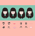 cartoon cute girl character pack facial emotions vector image vector image