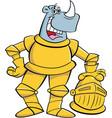 cartoon rhino wearing a suit armor vector image vector image