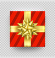 christmas gift box present red golden ribbon bow vector image vector image