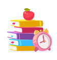 colorful of stack of books red apple and bi vector image vector image
