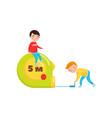cute boys using giant measuring tape preschool vector image