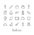 doodle kitchen icons vector image vector image