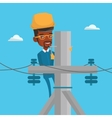 Electrician working on electric power pole vector image vector image
