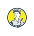 Female Mechanic Worker Holding Wrench Retro vector image vector image
