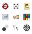 flat icon play set of poker arrow mahjong and vector image vector image