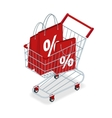 Food basket DISCOUNT or shopping cart with gifts vector image