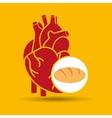 food healthy heart bread concept design icon vector image vector image