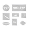 gray postal stamp template collection with shadow vector image vector image
