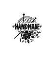 handmade logo craft knitted product vector image vector image