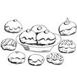 Hanukkah donuts set vector image vector image