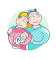 happy family father mother and batogether vector image