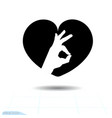 heart black icon love symbol ok icon in heart vector image vector image