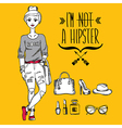 Hipster girl Fashion geek character vector image vector image