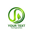 initial letter j logo template colored green vector image vector image
