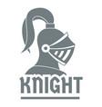 knight helmet logo simple gray style vector image vector image