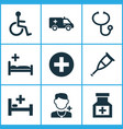 medicine icons set collection of disabled plus vector image vector image