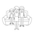 mom sitting in sofa with her daughter and son vector image vector image