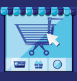 on line shopping with cart add vector image vector image