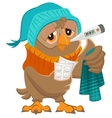 Patient owl holding thermometer and pills vector image