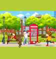 people and their pets in park vector image vector image