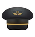 professional uniform cap for pilot headdress vector image