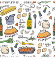 recipe pattern seamless pattern with pumpkin tart vector image