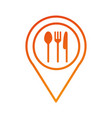 restaruant fork spoon knife pointer map location vector image vector image