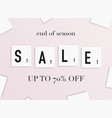 sale banner with scrabble letters design poster vector image vector image