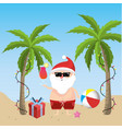 Santa claus in the summer holiday vacation