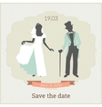 Save the date card template with bride and groom vector image vector image