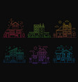 set of gradient line urban and suburban houses vector image vector image