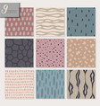 set of nine hand drawn seamless abstract patterns vector image vector image