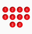 set of numbers from 0 to 9 with a round red shape vector image