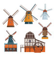 set of traditional rural windmill and watermill vector image vector image