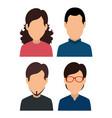 set woman and men social media profile vector image