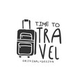 time to travel logo with traveler luggage vector image vector image