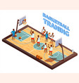 training basketball isometric composition vector image vector image